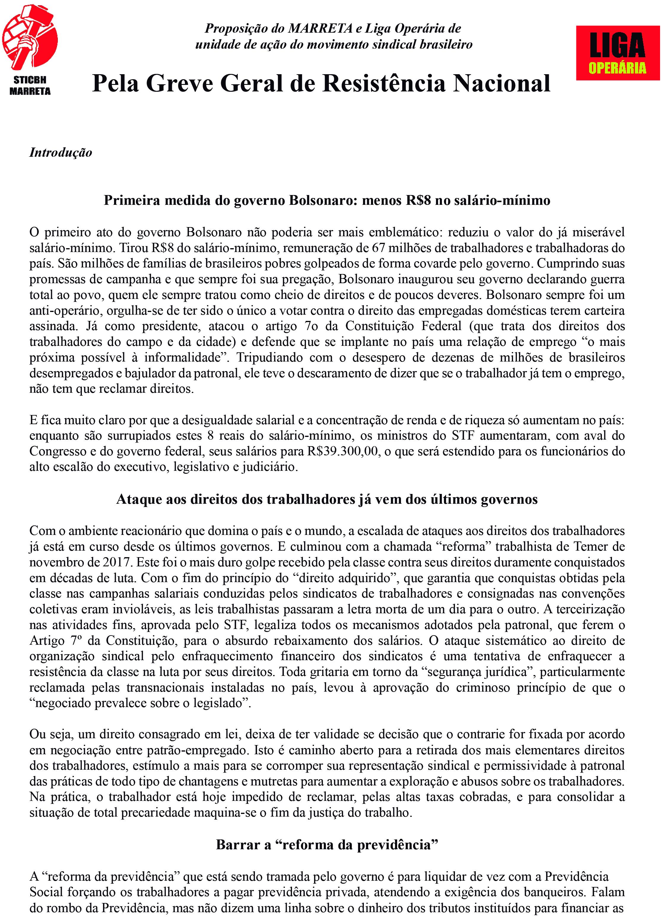 Proposição do MARRETA e da Liga Operária: PELA GREVE GERAL DE RESISTÊNCIA NACIONAL